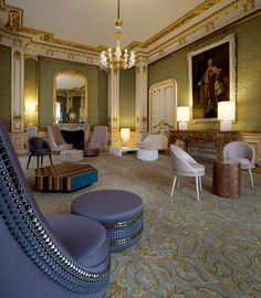 Lee Broom has filled a room at London's Lancaster House with studded furniture to host visting business leaders during the Olympic games. Chair Design, Furniture Design, Lancaster House, Lee Broom, Room London, Gold Rooms, My Dream Home, Home Furnishings, Dining Chairs