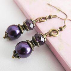 Dark purple bridesmaid earrings, set of 8, pearl earrings, bridal jewelry, rustic wedding jewelry, bronze dangle earrings, bridal party gift