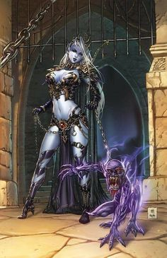 Grimm Fairy Tales Escape From Monster Island (of (Cover C - Krome) Fantasy Warrior, Fantasy Girl, Fantasy Art Women, Dark Fantasy Art, Fantasy Artwork, Fantasy Character Design, Character Art, Elfen Fantasy, Female Demons