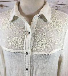 Free People Saddle Up Shirt Ivory Gauzy Lace Yoke Button-Down Top Large Boho  | eBay