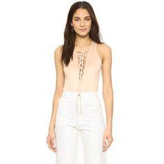 Glamorous Lace Up Bodysuit (496.275 IDR) ❤ liked on Polyvore featuring intimates, shapewear and nude