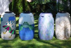 Rain Barrel Basics 101:Prep, Placement, Pests  --- and how about these neat artistic ideas instead of the standard blue or white water catch containers?