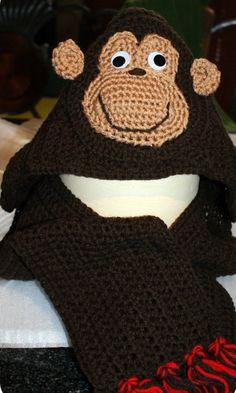 Cheekee Monkee Hooded Scarf by CheekeemonkeeStore on Etsy Monkey Hat, Hooded Scarf, Ear Warmers, Keep Warm, Headbands, Fun Stuff, Hoods, Winter Hats, Crochet Hats