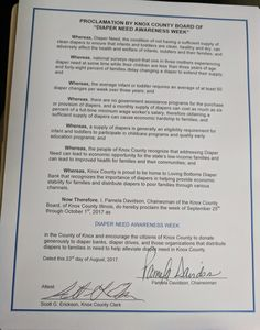 KNOX COUNTY, IL – County Board proclamation recognizing Diaper Need Awareness Week (Sept 25-Oct 1) #DiaperNeed Diaperneed.org