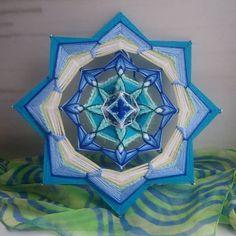 Vishuddha Chakra - Woven Yarn Mandala, Ojo de Dios, God's Eye, Wall Hanging, Boho Interior Decor for Vishuddha Chakra, Gods Eye, Meditation Space, Woven Wall Hanging, Eye Art, Paper Decorations, String Art, Dream Catcher, Hand Weaving