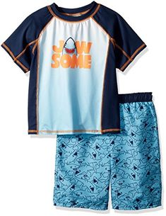 0d7690d7e4 Baby Buns Little Boys' Two Piece Jawsome Rashguard Swimsuit Set, Multi, 4