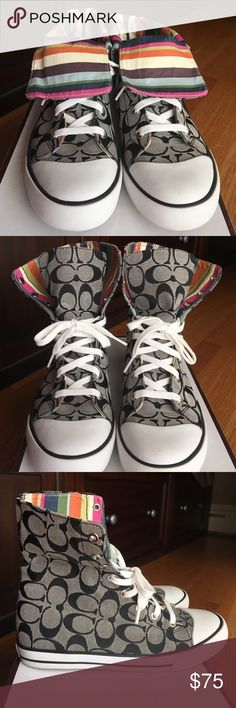 *LIKE NEW* Coach Hi-top Bonney Sneakers Worn once, like new, Coach Bonney black/white/multicolor high top sneakers. Size: women's 8. A few small marks from one wear on the left sole, otherwise they look brand new! Box and care instructions included. Coach Shoes Sneakers