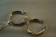 10k White Gold Circular Spiral Hoop Earrings with Hinged Snap Closure Fastening