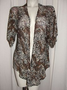 CHICO'S Stretch Nylon Black Brown Animal Print Top Jacket Cover-up Size 0 S/4/6 #Chicos #Blouse #Career