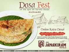 Delicious Onion Rava Dosa - Crispy and Yummy that teases your taste buds! Head to #SrijanakiramHotels #Rooftop_Restaurant for the ultimate Dosa Experience.  You can choose from over #50_DOSA_Varieties.