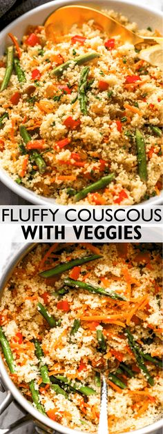 Tender carrots and asparagus, plus sweet-tart golden raisins mixed with deliciously fluffy Couscous! This healthy 15-minute side dish will make busy weeknights a total breeze. Best Side Dishes, Healthy Side Dishes, Good Healthy Recipes, Vegetable Side Dishes, Side Dish Recipes, Veggie Recipes, Easy Dinner Recipes, Easy Meals, Skinny Recipes