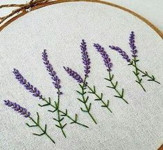 Sale Hand Embroidery hoop wall art by KawaiiSakuraHandmade Hand Embroidery Stitches, Embroidery Hoop Art, Ribbon Embroidery, Cross Stitch Embroidery, Embroidery Patterns, Broderie Simple, Needlework, Crochet, Lavender Garden