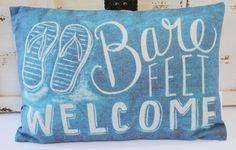 Popular Beach Cottage Throw Pillow - Chalk Board Art