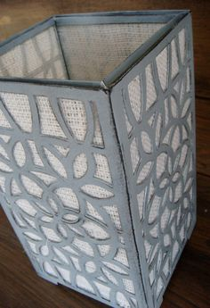Distressed Gray Lantern with Burlap