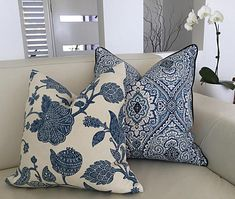Cushions, Blue and White Damask Designer Cushions Hampton's Style Pillow Cover, Purana Decorative Pillow, Cushion Cover, Coastal Classic Cushion Covers, Classic Cushions, Die Hamptons, Hamptons Decor, Floral Pillows, Floral Fabric, Decorative Pillows, Blue And White Pillows, White Cushions