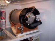 Kitchen fridge friendly keg system - Home Brew Forums Cool idea for bringing to events too. Home Brewery, Home Brewing Beer, Beer Keg, Beer Taps, Brew Stand, Brewing Equipment, Beer Recipes, Homebrew Recipes, Brew Pub