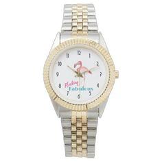 Flocking Fabulous Typography w/ Pink Flamingo Wrist Watch - typography gifts unique custom diy