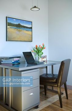 Desk with laptop in home office Contemporary Home Offices, Contemporary Style, Office Images, Study Space, Interior Photography, Office Desk, Laptop, Home Office, Table Desk