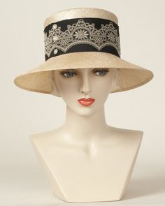 Jamie, tea with black, sisal hat with vintage ribbon & buttons