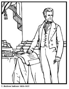 andrew jackson our 7th president of the united states free printable coloring sheet click