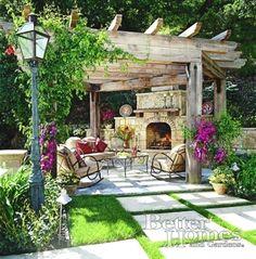 Love this outdoor fireplace and pergola. #pergolafireplace #LandscapingandOutdoorSpaces