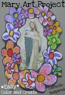 Mary Walking Among the Flowers ~ Color and Create! ~ Catholic Inspired