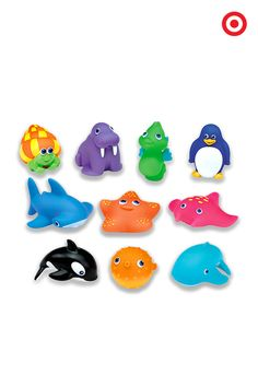 Make bathtime a sea-faring adventure for your baby or toddler with Ten Squirtin' Sea Buddies by Munchkin. This set of easy-to-squeeze bath toys helps your little one identify colors and shapes, and develop motor skills. Get ready for a tub full of fun!