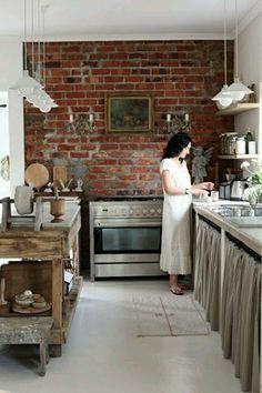 brick walls stone wall interior inspiration ideas kitchen - stenen muur bakstenen interieur keuken
