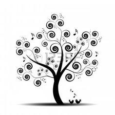Albero di arte Astratta con nota di musica e bello Uccelli Vettore