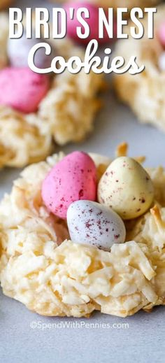 These Easter birds nest cookies are a fun and kid friendly cookie recipe that couldn't be more perfect for Easter weekend. Coconut macaroons just got an upgrade! #spendwithpennies #easter #eastercookies #cookies #birdsnestcookies #coconutmacaroons #macaroonnests #coconutbirdsnests