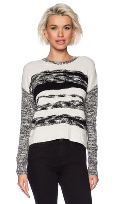 Autumn Cashmere Mixed Yarn Intarsia Sweater in Winter White & Black
