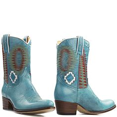 Sendra Laca laarzen 10226 Turquoise met aztec print - The latest in Bohemian Fashion! These literally go viral!