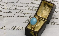 A gold and turquoise ring belonging to Jane Austen has sold for more than five times its estimate at an auction in London –