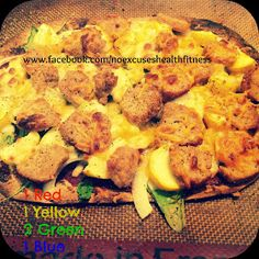 FLAT OUT PIZZA - CHICKEN MEATBALLS, SPINACH, ONION, YELLOW SQUASH AND CHEESE    (21 DAY FIX APPROVED!!!!)   1 Flat Out  Leftover Chicken...
