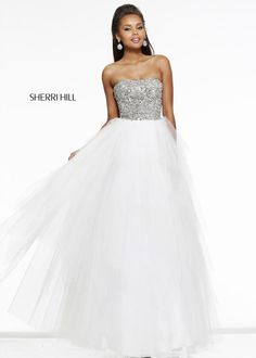 Sherri Hill 11085 Ivory Stunning Beaded Gown Online Sale