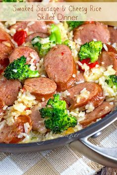 Smoked Sausage & Cheesy Rice 1 tbs olive oil 1 tbs butter 1 lb smoked sausage or kielbasa, sliced thick 1 small onion, chopped 1 small red bell pepper, seeded and chopped 2 cups broccoli florets 1 cups cooked rice 1 tsp garlic powder 1 tsp o Smoked Sausage Recipes, Pork Recipes, Cooking Recipes, Healthy Recipes, Kielbasa Recipes Rice, Polish Sausage Recipes, Recipies, Gourmet Dinner Recipes, Recipes With Leftover Sausage