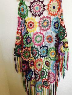 Colourful Crochet Shawl | Boho Gypsy Shawl | Hippie Patchwork | Colorful Gypsy Shawl | Handmade |100 cotton-merserized by fyboutique on Etsy