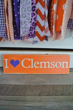 I heart Clemson wooden sign game day decor by scrapartbynina, $15.00