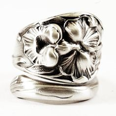 Vintage Orchid Antique Sterling Silver Floral Art by Spoonier, $71.00