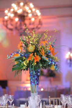 tropical wedding bird of paradise centerpiece