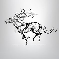 Silhouette of a running horse — Stock Vector © nutriaaa #67895389