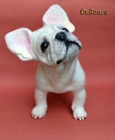 Needle Felted White French Bulldog Sculpture OOAK Dog Artist Ozbears Teddy Bear