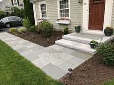 Entrances and Steps Landscaping in MA — Natural Path Landscaping - front yard landscaping ideas entryway Front Walkway Landscaping, Front Yard Walkway, Front Porch Steps, Outdoor Walkway, Front Porch Design, Home Landscaping, Patio Design, Patio Ideas With Flagstone, Front Stoop