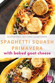 [AD] Spaghetti Squash Primavera with Baked Goat Cheese