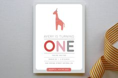 Giraffe Calf Children's Birthday Party Invitations by Stacey Meacham at minted.com