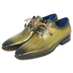 Paul Parkman Wholecut Plain Toe Oxfords Green Hanpainted Leather Shoes (ID Suede Leather, Leather Shoes, New York Fashion Week 2017, Mens Lace Up Boots, Men's Shoes, Dress Shoes, Mens Designer Shoes, Business Shoes, Formal Shoes