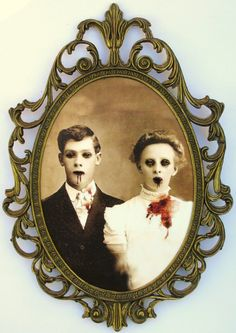 Zombie love... this is good inspiration. Watch thrift stores for old frames & mirrors to recycle into Halloween decor.
