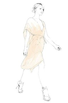 Fashion illustration of a model in a chic nude-coloured dress; fashion drawing // Caroline Andrieu
