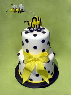 Two Little Bees baby shower cake