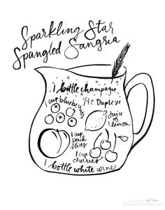 sparkling-star-spangled-sangria-recipe – 1 bottle white wine – 1 bottle champagne – 1 cup blueberries – 1 cup sliced peaches – 1 cup cherries – 1/4 cup Triple sec – sugar to taste – rosemary to garnish